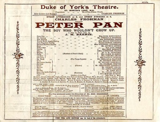 1904 programme for original play at the Duke of York's Theatre, London
